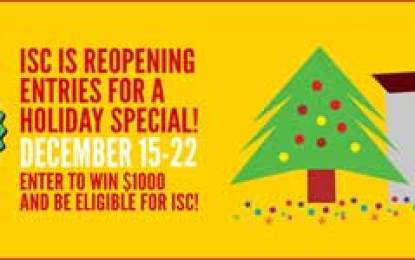 """Entries Now Open for ISC Holiday """"Stocking Stuffer"""" Promotion Dec 15-22"""