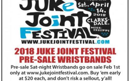 2018 Juke Joint Festival wristbands on pre-sale now